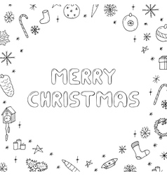 Hand drawn christmas frame doodle style vector image vector image