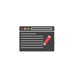 seo copywriting symbol browser with pen vector image