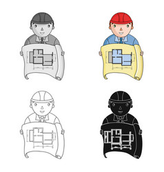 Architectz with technical drawing icon in cartoon vector