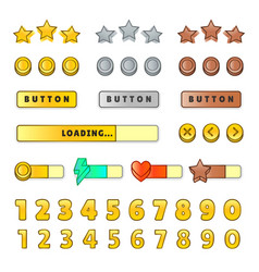 game graphical user interface gui design buttons vector image vector image