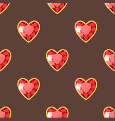 Red heart golden jewellery seamless pattern vector