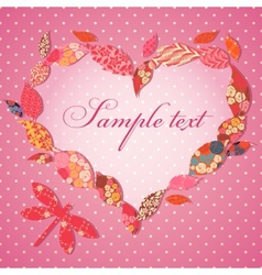 Scrap-booking Valentine card with frame of patch vector image vector image