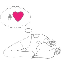 sleeping girl dreaming about love vector image