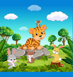 tiger in the forest vector image vector image