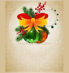 Christmas baubles with orange bow vector image