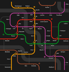 Fictional metro map seamless pattern vector image