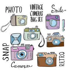 Hand drawn set of retro cameras with lettering vector image