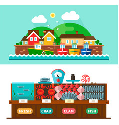 Seaport landscapes and seafood market vector image vector image
