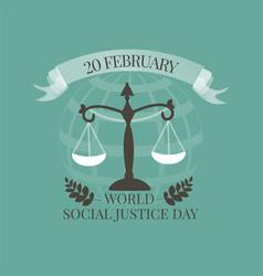 World Social Justice Day emblem vector image vector image
