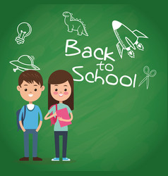 back to school puplis board chalk drawing vector image vector image