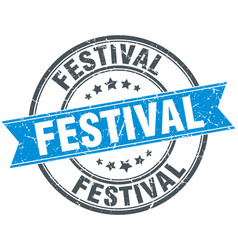 festival round grunge ribbon stamp vector image