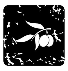 Fresh olive tree branch with olives icon vector image