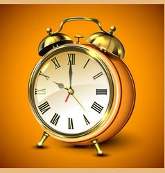 orange retro style alarm clock vector image vector image