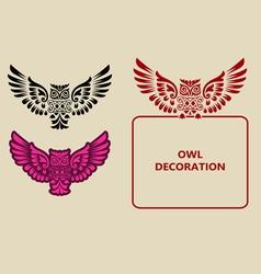 Owl decoration vector image