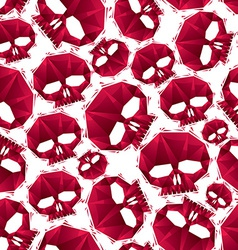 Red skulls seamless pattern geometric contemporary vector image