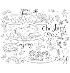 set with traditional christmas food isolated on vector image