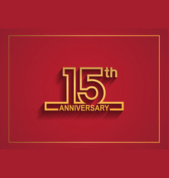 15 anniversary design with simple line style vector