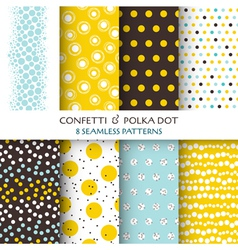 8 Seamless Patterns - Confetti and Polka Dot vector