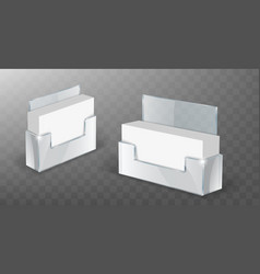Acrylic business card holder glass plastic display vector