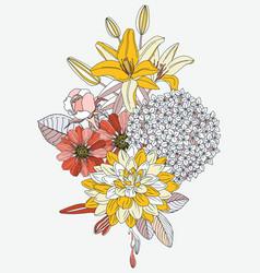 arrangement with summer flowers - dahlia vector image