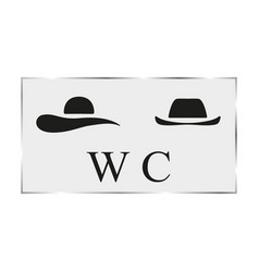 Black white plate toilet door vector