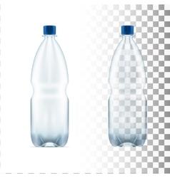 Blank plastic blue water bottle transparent vector
