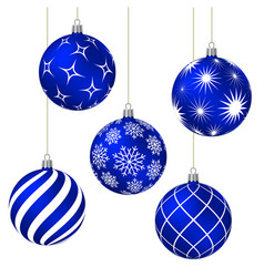 blue christmas balls with different patterns vector image