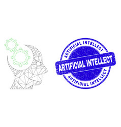 Blue scratched artificial intellect stamp and web vector
