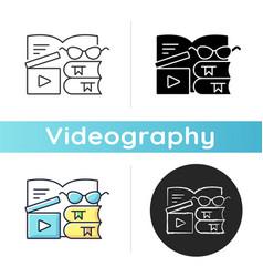 Book review videos icon vector