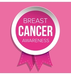 Breast Cancer Awareness badge with ribbon vector image