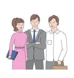 business cooperation man and woman workers vector image