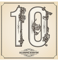Calligraphic font number 10 vector