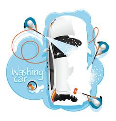 car washing in foam vector image