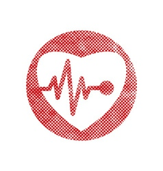 Cardiology icon with heart and cardiogram icon vector image