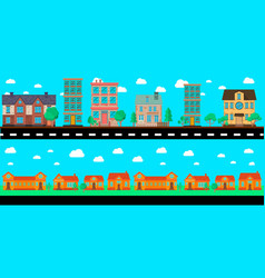 cartoon city landscape with buildings and trees vector image
