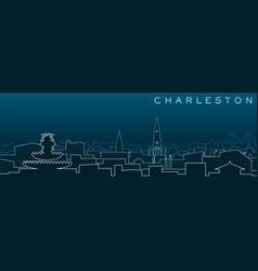 charleston multiple lines skyline and landmarks vector image