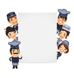 Chefs Presenting Empty Vertical Banner vector image