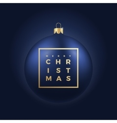 Christmas Ball on Dark Blue Background with Golden vector image