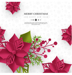 christmas holiday banner 3d paper cut style vector image