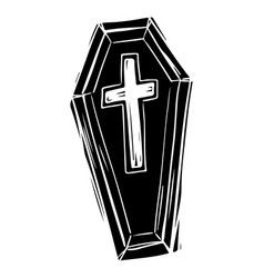 Coffin black and white hand drawn vector