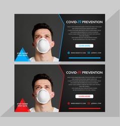 Corona virus warning facebook cover vector