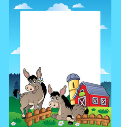Country frame with red barn 5 vector