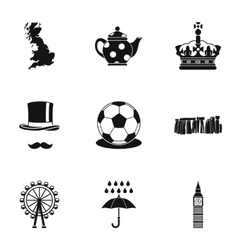 Country united kingdom icons set simple style vector
