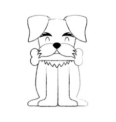 cute dog mascot with bone vector image