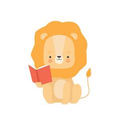cute lion reading book adorable smart animal vector image