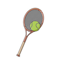 draw tennis racket and ball sport equipment vector image