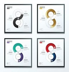 Eight circle infographic 2 color set 4 styles vector