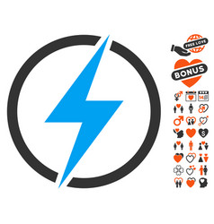 Electricity icon with love bonus vector