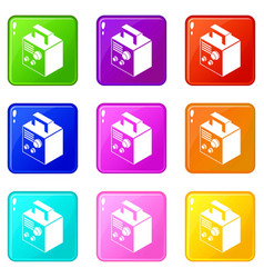 electro welding machine icons set 9 color vector image