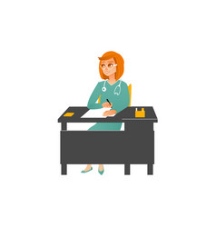Female doctor in uniform sitting at table in vector
